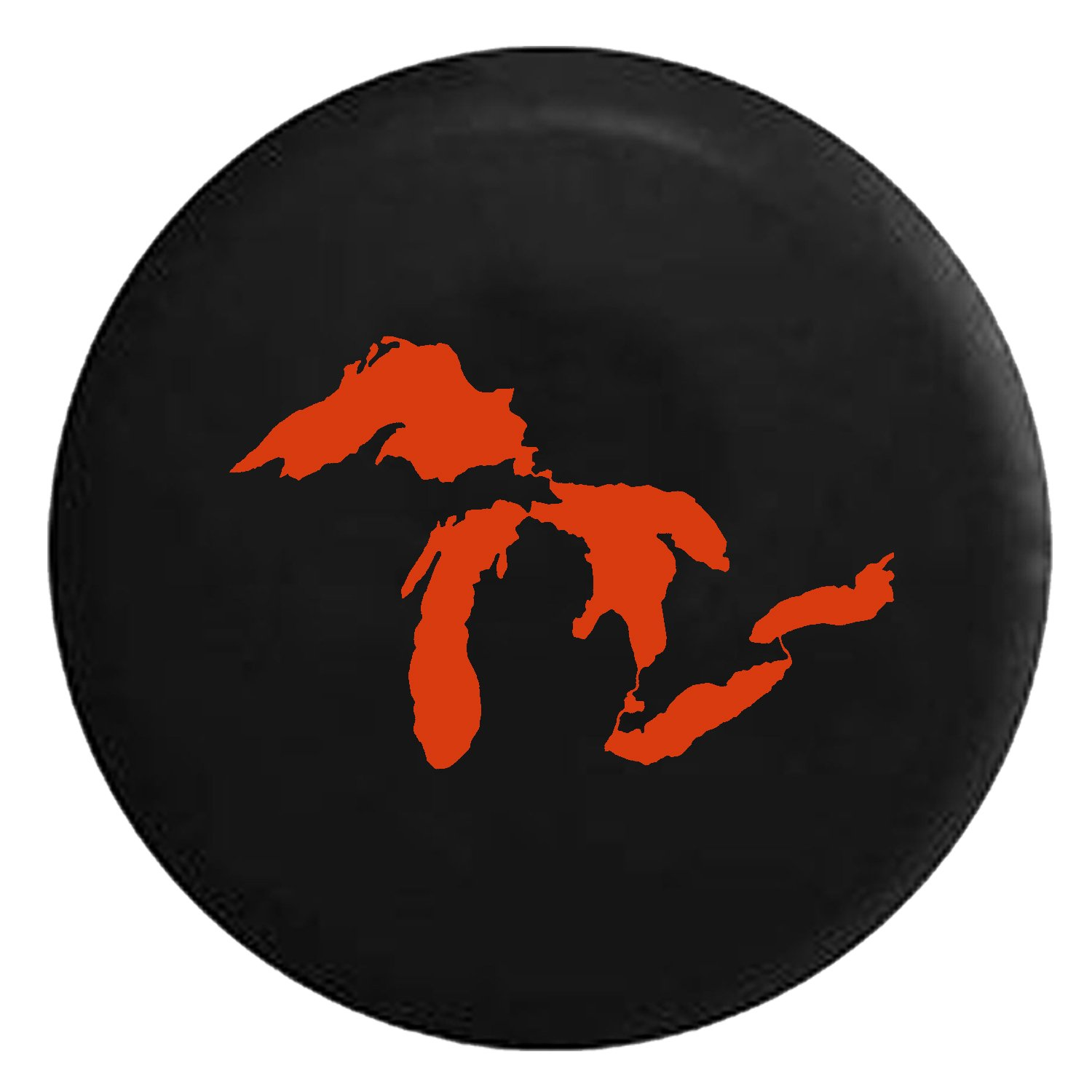 State of Michigan Great Lakes Spare Jeep Wrangler Camper SUV Tire Cover White Ink 35 in