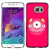 GRECELL CITY GIFT PHONE CASE /// Cellphone Protective Case Hard PC Slim Shell Cover Case for Samsung Galaxy S6 /// Cute Pink Monster Three Eyes