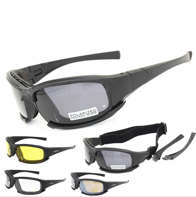 KnBoB Brille Tactical Motorradbrille Wechselgl/äser Brille Winddicht Klar Schwarz