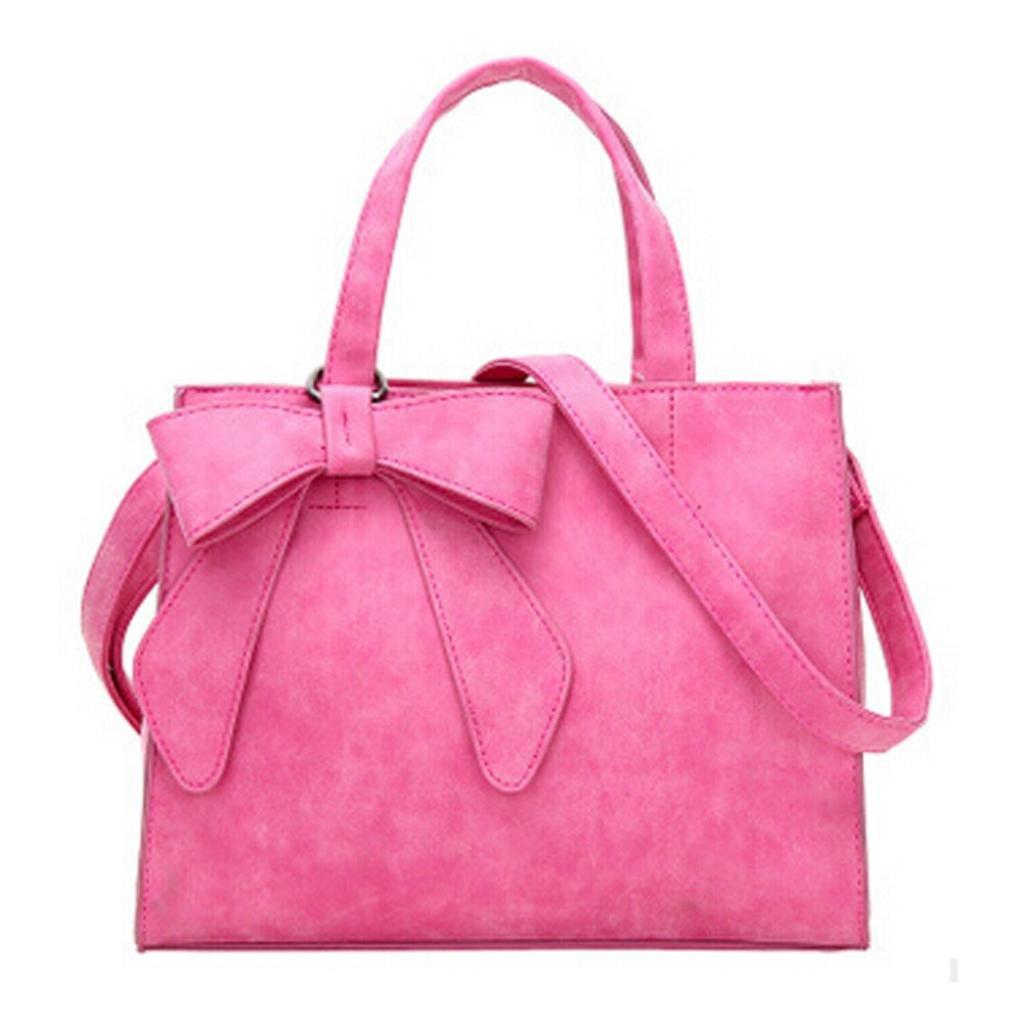 { Women Handbag }, Hunzed { Cute Bow } { Shoulder Bags } Women Girls { Fashion } { Handbag Corssbody Bag } For Ladies (Hot Pink)