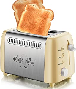 2 Slice Toaster with Reheat Defrost Cancel Function, Wide Slot 6 Toasting Settings with Anti-dust Cover for Bread Waffles