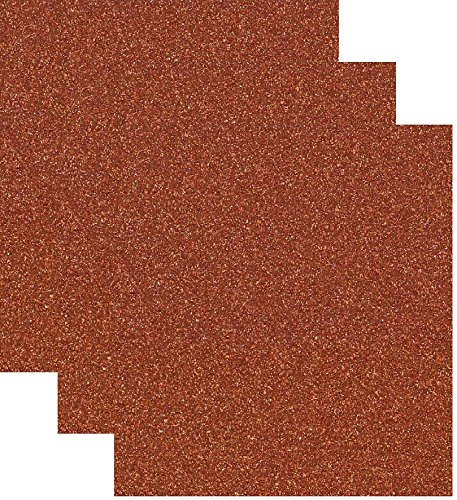 Siser Glitter Heat Transfer Vinyl HTV for T-Shirts 10 by 12 Inches (1 Foot) 3 Precut Sheets (Copper)