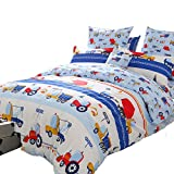 Brandream Blue Kids Boys Bedding Trucks Tractor Bedding Super Cute Children Bedding Sets 100% Cotton Duvet Cover Sheet Pillowcase Set Bedding Collections Twin Size