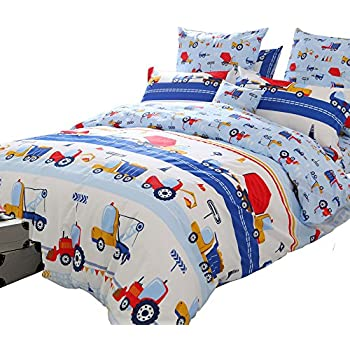 brandream blue kids boys bedding trucks tractor bedding super cute children bedding sets 100 cotton