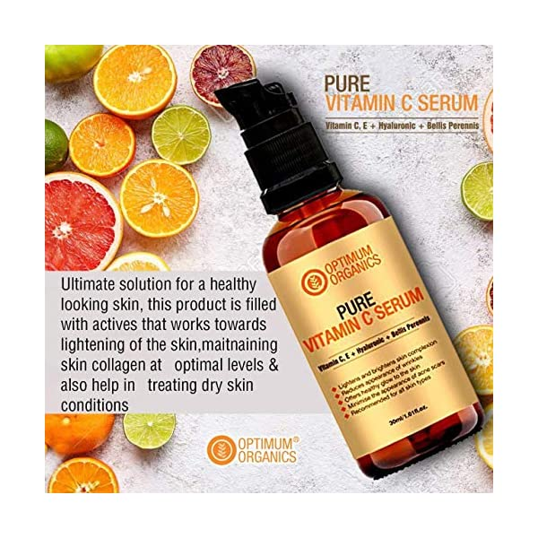 Optimum Organics Vitamin C Serum With Hyaluronic Acid 30% For Face, Body, Skin Whitening And Acne Prone Skin 2021 July PURE, NON TACKY AND LUXURIOUS, our Vitamin C Serum is an excellent addition to your daily skincare routine, this helps in fading dark spots, acne scars, rejuvenating skin, protecting skin from environmental damages. This is perfectly non tacky yet very concentrated and recommended twice daily application for maximum benefits. ULTIMATE SOLUTION FOR A HEALTHY LOOKING SKIN, this product is filled with premium actives that works towards lightening of the skin, maitnaining skin collagen at optimal levels and also help in treating dry skin conditions. PROVEN ASCORBIC DERIVATIVE, HYALURONIC AND BELLIS PERENNIS FLOWER EXTRACT, complementing the effect of the ascorbic and hyaluronic, this sweet smelling premium bellis perennis flower extract helps in clearing skin and evening out skintone in perfectly natural way.