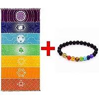 OUTOS Tapete de yoga con diseño de mandala bohemio, cuadrado, grueso, de algodón puro, con 7 chakras, borlas y rayas de arcoíris, con cuentas de la suerte, 150 x 75 cm
