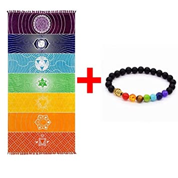 Grueso Cuadrado Bohemia Mandala Manta de yoga Pure Cotton 7 Toalla de yoga  Chakra con borlas b7ba1935a692