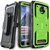 Moto Z2 Play / Z2 Force Case, COVRWARE [Aegis Series] w/Built-in [Screen Protector] Heavy Duty Full-Body Rugged Holster Armor Case [Belt Swivel Clip][Kickstand] for Moto Z2 Play / Z2 Force, Green