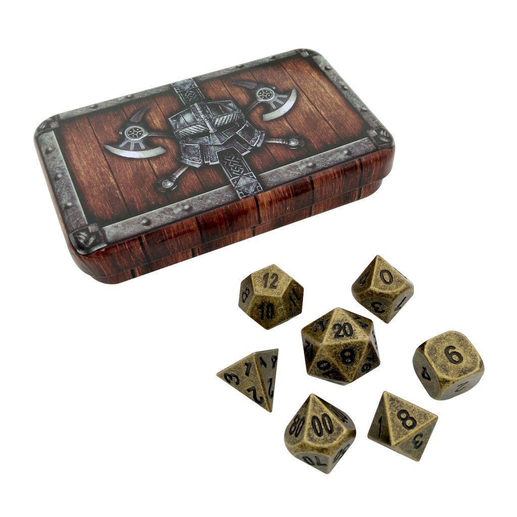 【在庫限り】 スカルスプリッタdice- 7 Dwarven chest-ガンメタルゴールドカラーwithブラックnumbering-ソリッドメタルPolyhedral Role Playing Game Role ( RPG )ダイスセット( withボックス 7 Die inパック) withボックス B072NB7MK7, スマホケース JillsDESIGN:27cb40db --- mcrisartesanato.com.br