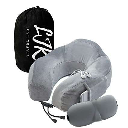 5c5400bd623c Travel Pillow Neck Cushion – Luxury Memory Foam Pillows for Car, Airplane,  Train and Home - Compact 360° Comfort with Sleep Mask - Travel Bag Included  ...