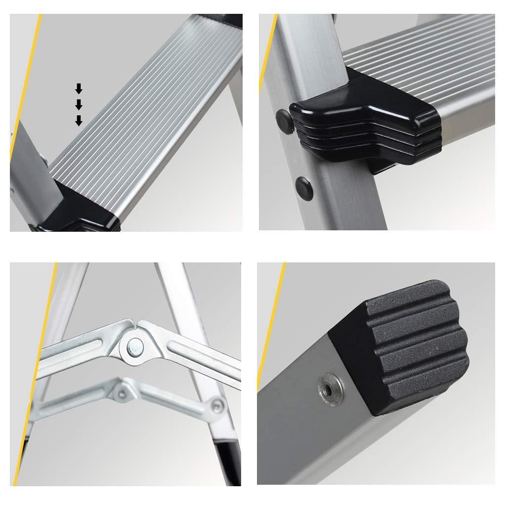 Tragbar Rutschfest Teleskopleitern 2//3//4-Stufen-Hockerleiter Silberne Haushaltsleitern Mit Gummihandgriff Color : 4 step ladder