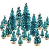 SATINIOR 60 Pieces Artificial Mini Christmas Tree Sisal Snow Trees Bottle Brush Christmas Trees Pine Trees Ornaments with Wooden Base for Christmas Party Home Decoration (6 Sizes, Blue Green)