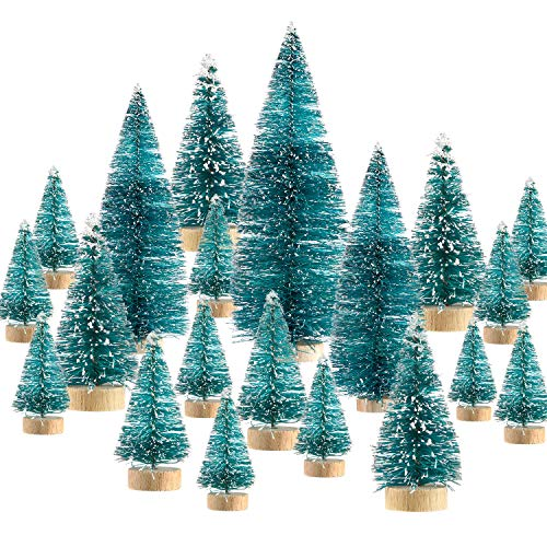 SATINIOR 60 Pieces Artificial Mini Christmas Tree Sisal Snow Trees Bottle Brush Christmas Trees Pine Trees Ornaments with Wooden Base for Christmas Party Home Decoration (6 Sizes, Blue Green) from SATINIOR