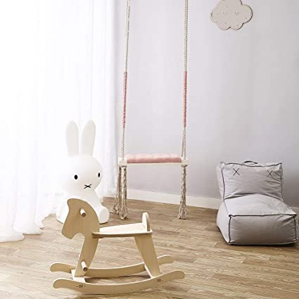 Amazon.com: Wonder Space Baby Swing Chair With Cushion Seat, Children  Indoor Solid Wood Toy Swings, Room Decor Furniture For Boys Princess Girls  And Kids ...