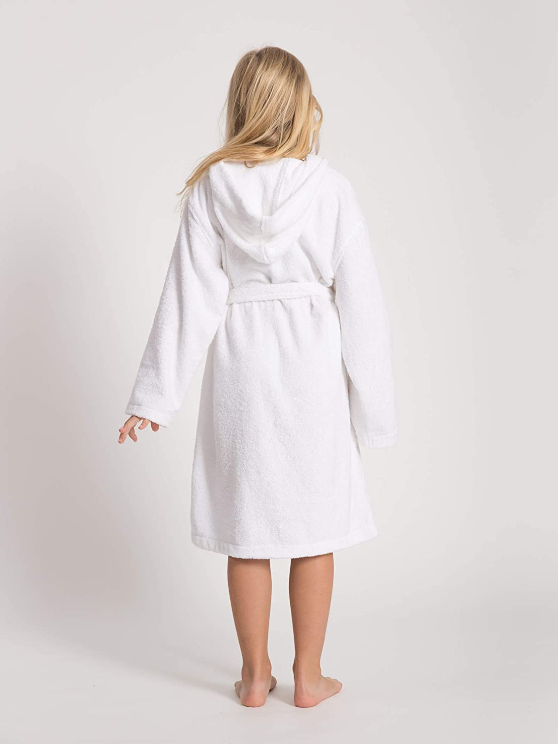 Hooded Terry Cotton Bathrobe for Girls and Boys Shower Bath Pool Dressing Gown with Pockets SIORO Robes for Kids
