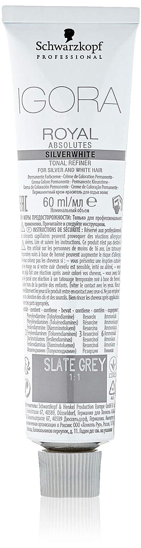 Schwarzkopf Professional Igora Royal Absolutes Silverwhite Refinadores Tonales, Gris (Slate Grey), 60 ml