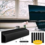 Baskiss 6 Packs 16 inches Cable Management Raceway Under Desk Wire Management Cord Organizer and Hider, Cord Cover, Concealer for Desks, Offices and Kitchens (Black)