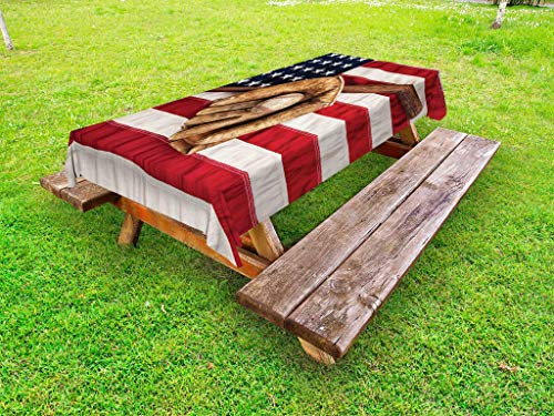 Ambesonne Baseball Outdoor Tablecloth, Vintage Baseball League Equipment USA Grunge Glove Bat Fielding Sports Theme, Decorative Washable Picnic Table Cloth, 58 X 104 Inches, Brown Red Blue