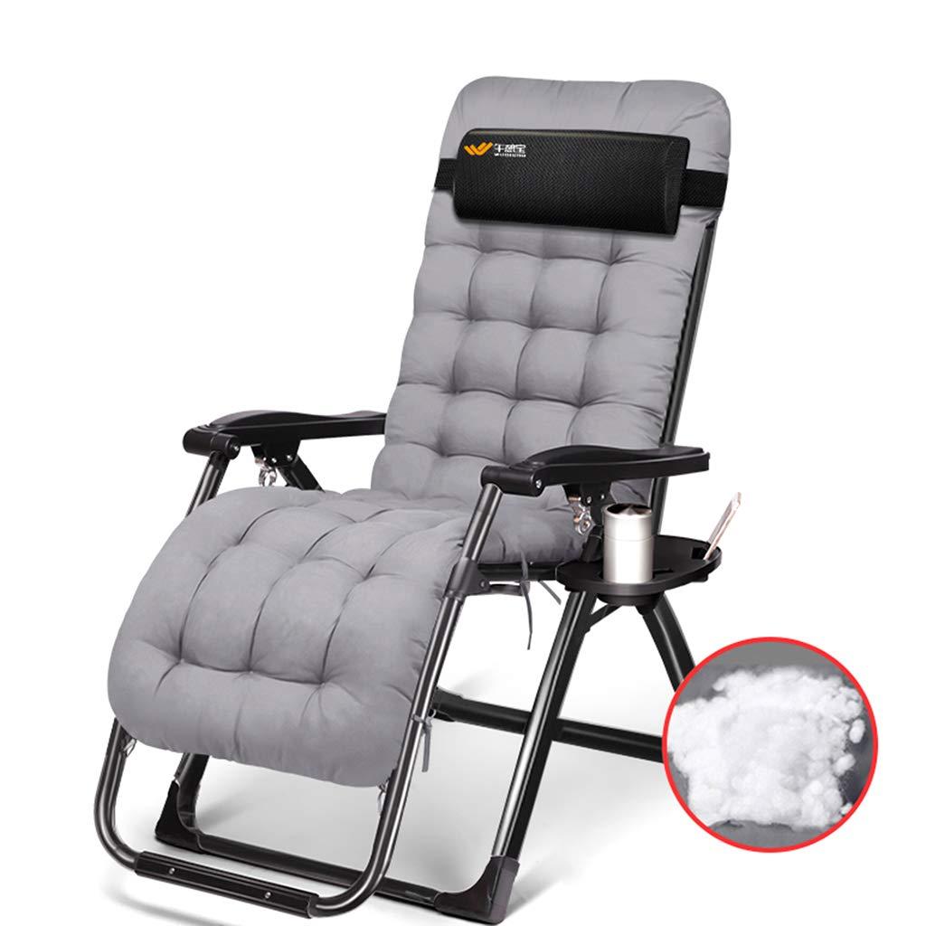 Qz Klappbare Gartenstühle mit Kissen für schwere  Herrenchen, Grauer Stuhl für Camping Outdoor-Reisen, 150kg