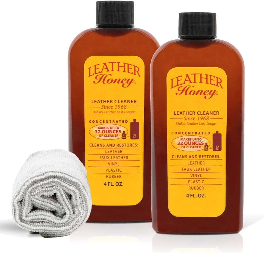 Leather Honey Leather Cleaning & Cloth Kit For use on Leather Apparel, Furniture, Auto Interiors, Shoes, Bags and Accessories. Cleaner and Lint-Free Cloths.