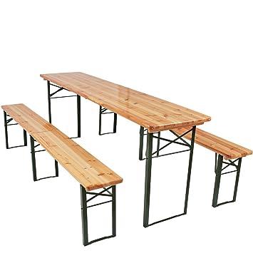 Miadomodo Robuste Faltbare 3 teilige Bierzeltgarnitur Festzeltgarnitur Bierbank Biertisch 220 cm 1 Tisch und 2 Stühle