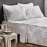 Brielle 100-Percent Cotton Flannel 6 Piece Sheet Set, Queen, Blue Snowflake