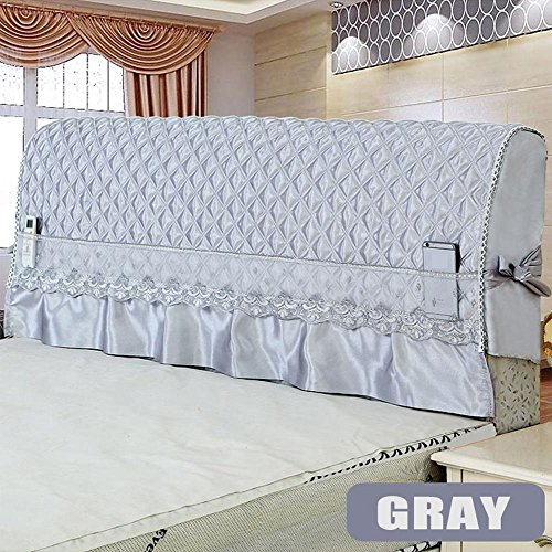 Fabric Slipcovered - WOMACO Lace Bed Headboard Cover Romantic Bedroom Decorative Cover - Gray,59