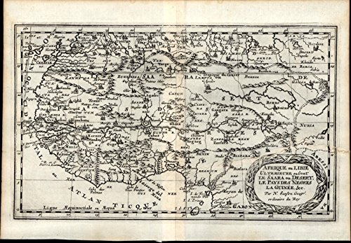 West Africa Guinea Gold Slave Ivory Coast 1699 Sanson rare old map fantasy ()
