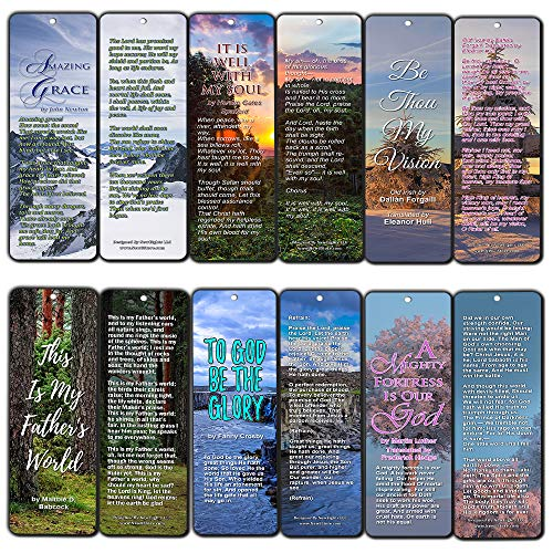(Hymn Bookmarks Series 1 - Amazing Grace (60-Pack) - Classic Gospel Song Lyrics - Bring You Back to The Good Old Day Worship - Stocking Stuffers for Men Women )