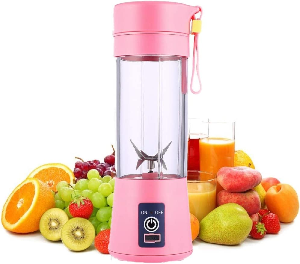SANSHAAC Portable Blender, 380ml Six 3D Juice cup, Personal Mixer Fruit Rechargeable with USB, Mini Blender for Milk Shakes, Smoothie, Fruit Juice (fei)