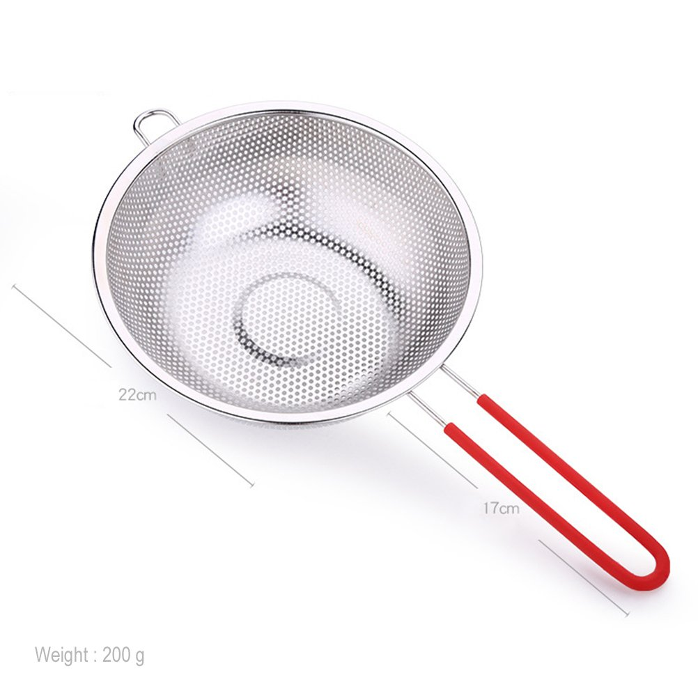BESTONZON Coladores de acero inoxidable de malla fina Espuma espiral de malla Cuchara cuchara para fideos Spaetzle Pasta Chips Plata