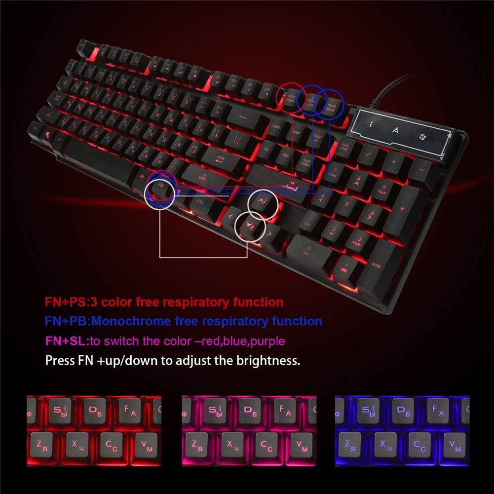 Gaming Keyboard USB Wired Keyboard Quiet Spill-Resistant Keyboard with Ergonomic Wrist Rest,3 Colour Changeable Breathing Lighting for Computer