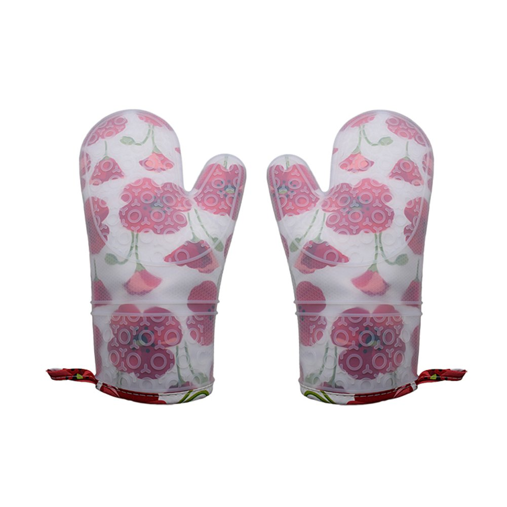 Lanburch Set of 2 Oven Mitts Heat Resistant Silicone Oven Mitts Floral Oven Gloves Waterproof Silicone Kitchen Mitts for Women