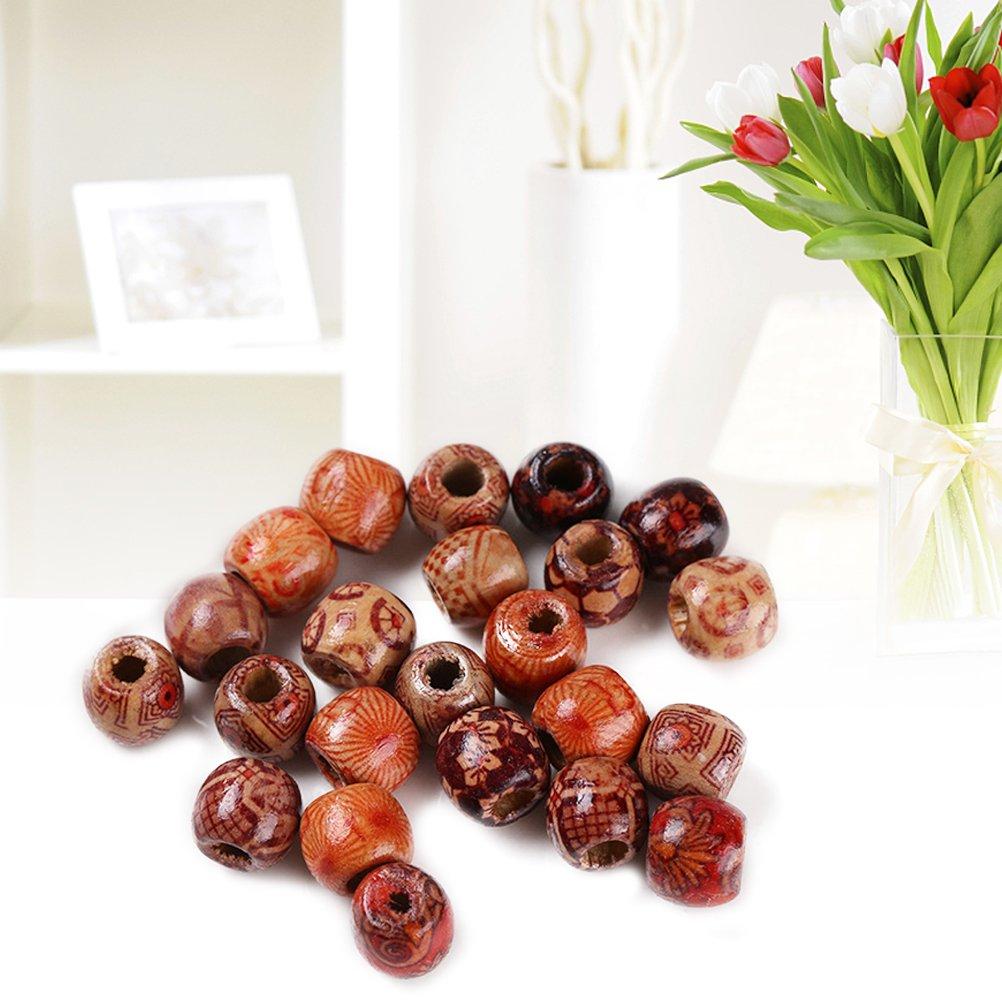 LIOOBO 100pcs Perles de Bois Naturelles peintes Rondes en Vrac Boule de Perle en Bois pour la Fabrication de Bijoux Artisanat Bracelet Collier