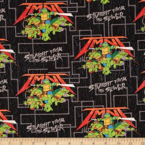 Springs Creative Products Nickelodeon TNMT Straight from The Sewer Black Fabric by The Yard -