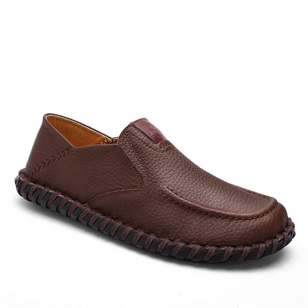 ZHRUI   Herren handgemachte echtes Leder Loafers weiche Schuhe Sohle Rutschfeste Casual Fahr Schuhe weiche (Farbe : Braun, Größe : EU 39) Braun b01280