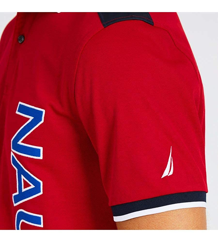 Nautica Mens Classic Fit Short Sleeve Woven Trim Polo Shirt