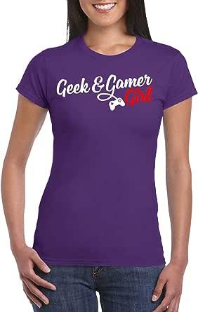Purple Female Gildan Short Sleeve T-Shirt - Geek & gamer Girl design