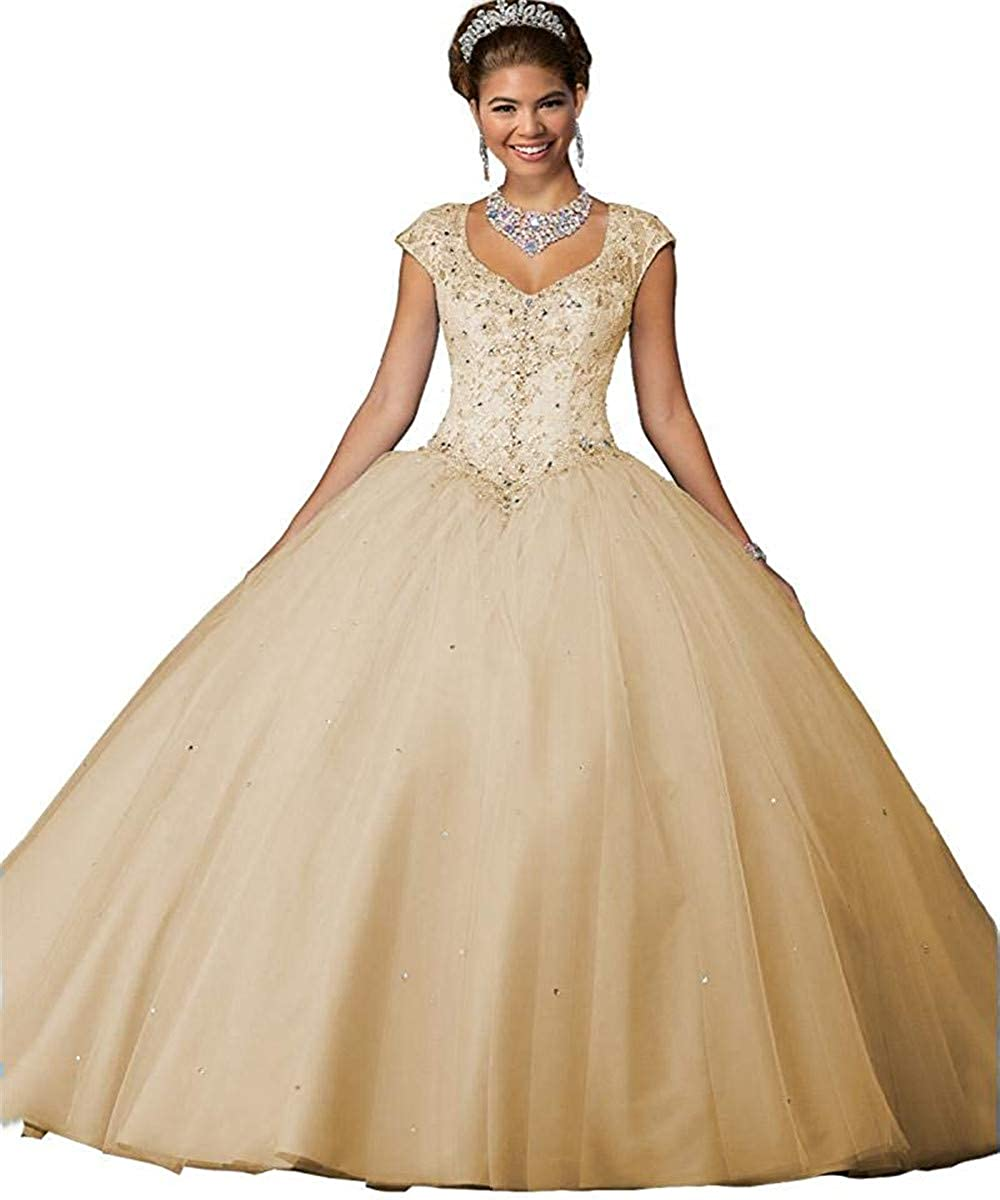 Champagne Sophie Women's Cap Sleeve Crystal Beaded Quinceanera Dresses Tulle Sweet 16 Pageant Ball Gown S232