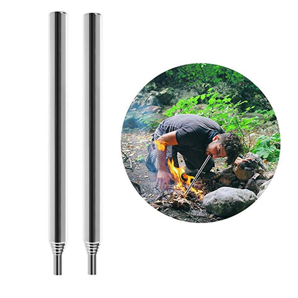 Dreamsoule 10mm Campfire Bellows Tool,2 Packs Collapsible Stainless Steel Pocket Bellows Campfire Tool Builds Fire By Blasting Air, for Outdoor Picnic Camping Hiking