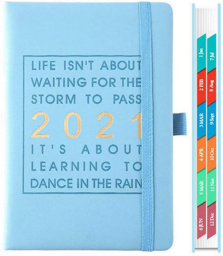 2021 Planner Hardcover Daily Monthly and Year Planner with Pen Loop, Ribbon Bookmark and Calendar 5x8 Blue for Women for Man