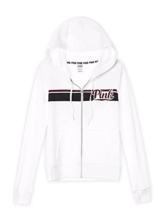 c15cd36e9 Victoria's Secret PINK NEW Perfect Full Zip Hoodie Medium White at ...