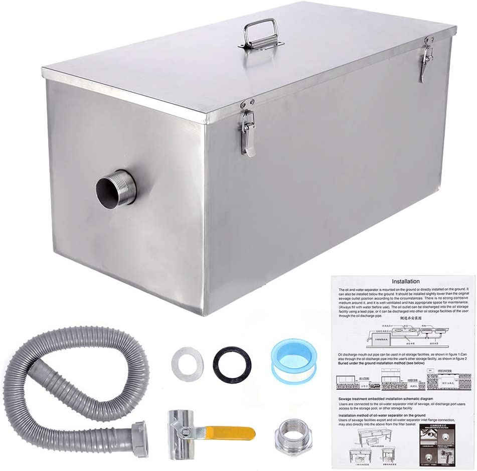 Amazon Com Beamnova Commercial Grease Trap 25lbs Stainless Steel Interceptor Side Inlet Industrial Scientific