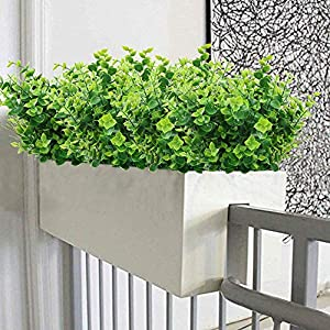 ElaDeco Artificial Boxwood (Pack of 7),Artificial Farmhouse Greenery Boxwood Stems Fake Plants and Greenery Springs for Farmhouse,Home,Garden,Office,Patio,Wedding and Indoor Outdoor Decoration 5