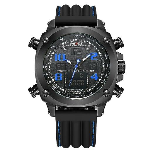 Marca Weide reloj analógico Digital pantalla LCD FECHA DÍA CRONÓMETRO alarma negro rojo doble movimiento hombres