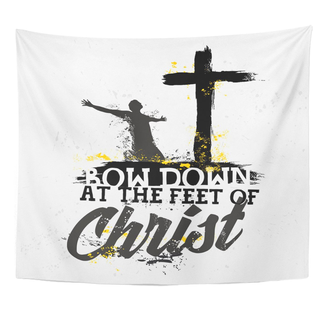 Breezat Tapestry Jesus Bible Lettering Christian Bow Down at the Feet of Christ Cross Home Decor Wall Hanging for Living Room Bedroom Dorm 50x60 Inches