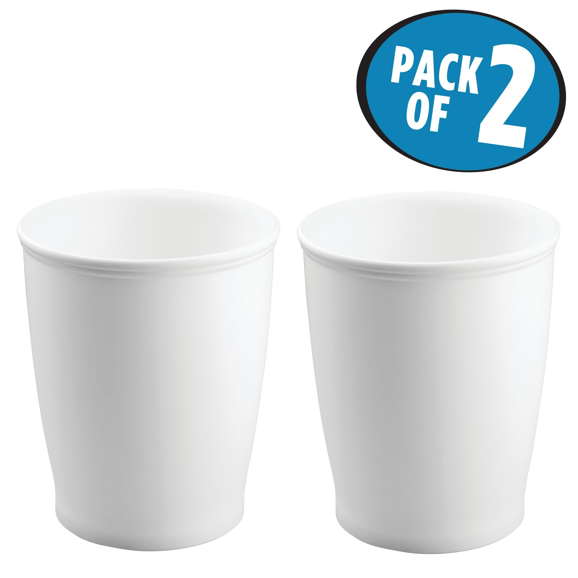mDesign Round Shatter-Resistant Plastic Small Trash Can Wastebasket, Garbage Container Bin for Bathrooms, Kitchens, Home Offices, Dorm Rooms - Pack of 2, White