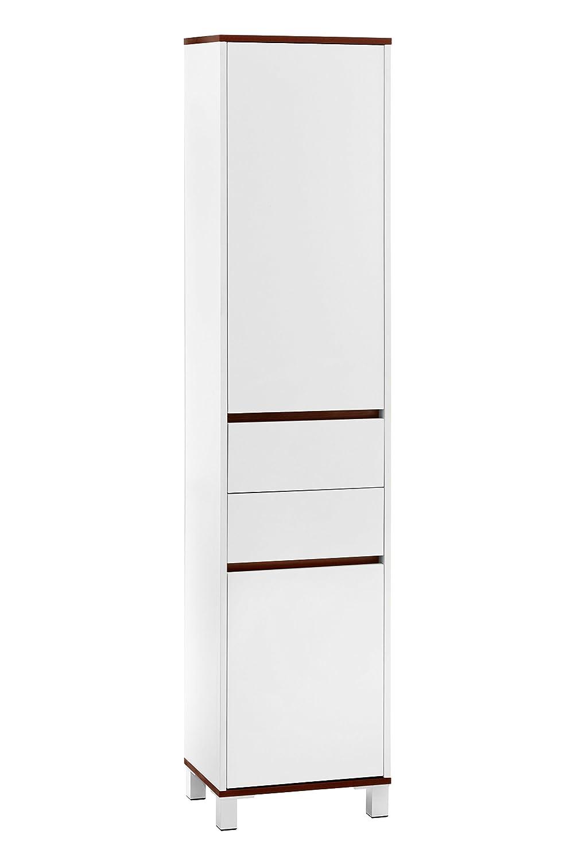 Premier Housewares Chelsea Tall Cabinet, White/Walnut Veneer: Amazon.co.uk:  Kitchen U0026 Home