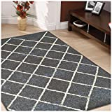 Superior Lattice Collection Area Rug, 6mm Pile Height with Jute Backing, Affordable and Contemporary Rugs, Modern Geometric Windowpane Pattern - 8' x 10' Rug, Slate