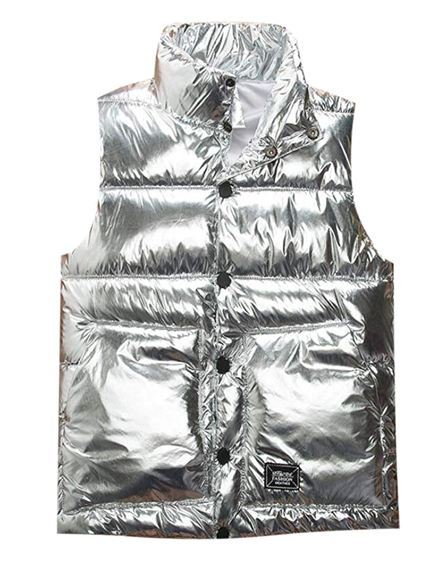 Frieed Mens Quilted Buttons Metallic Warm Sleeveless Down Vest Jacket
